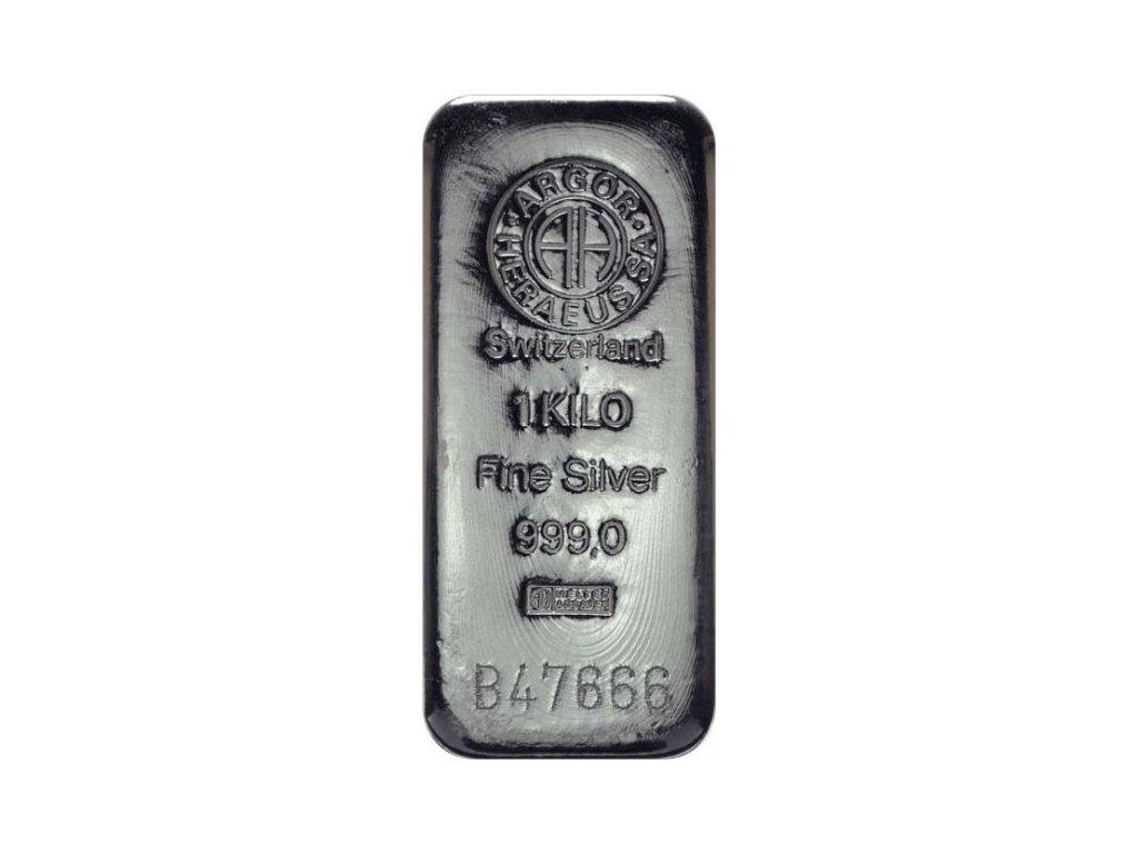 Stříbrný slitek 1000 g - Argor Heraeus SA Švýcarsko - poškozený obal