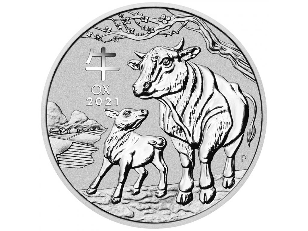 2021 1 oz silver lunar year of the ox bu australian perth mint in cap. back min