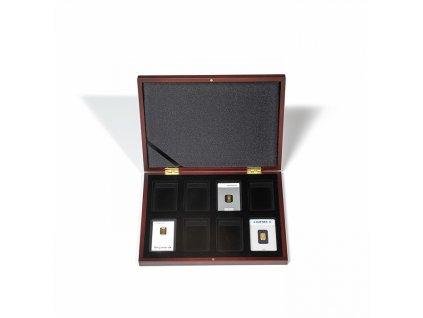 kassette volterra fuer 8x goldbarren in blisterverpackung mahagoni