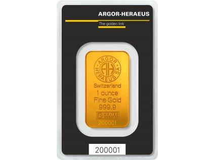 Zlatý slitek 31,1g - Argor Heraeus SA Švýcarsko