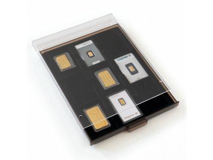 muenzbox mit 9 faechern fuer goldbarren in blisterverpackung mit schw einlage