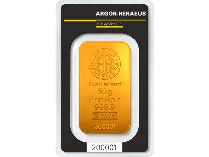 Zlatý slitek 50g - Argor Heraeus SA Švýcarsko
