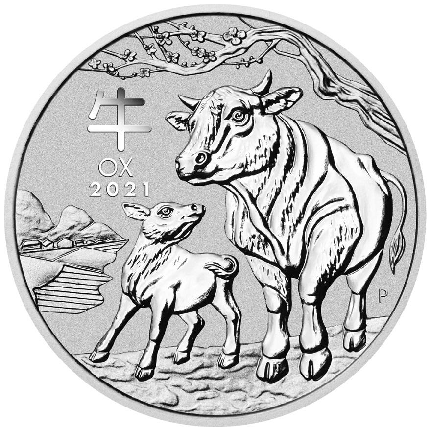 Perth Mint Stříbrná mince 1 Oz - Rok buvola 2021 (Austrálie)
