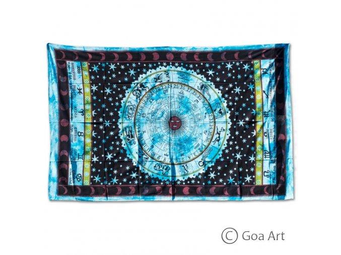 Prikrývka so zverokruhom, čierno - modrý