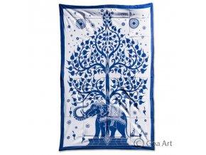 Prikrývka so slonom, bielo - modrá