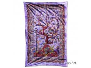 Prikrývka so stromom, fialový podklad