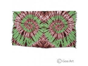 Sarong č.15 hnedo - zelená špirála