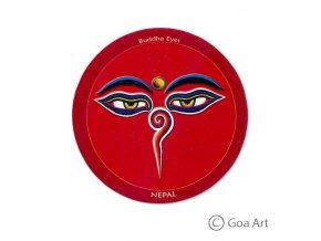 Buddha Eyes  Samolepka Nepál Budhove oči - červená