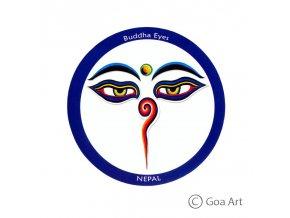 Buddha Eyes  Samolepka Nepál Budhove oči - modrá