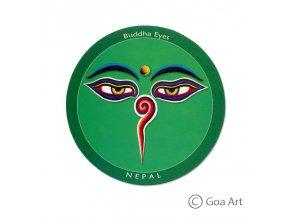 Buddha Eyes  Samolepka Nepál Budhove oči - zelená