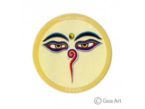 Buddha Eyes  Samolepka Nepál Budhove oči - žltá