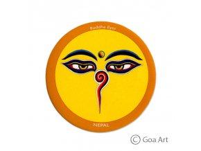 Buddha Eyes  Samolepka Nepál Budhove oči - okrová