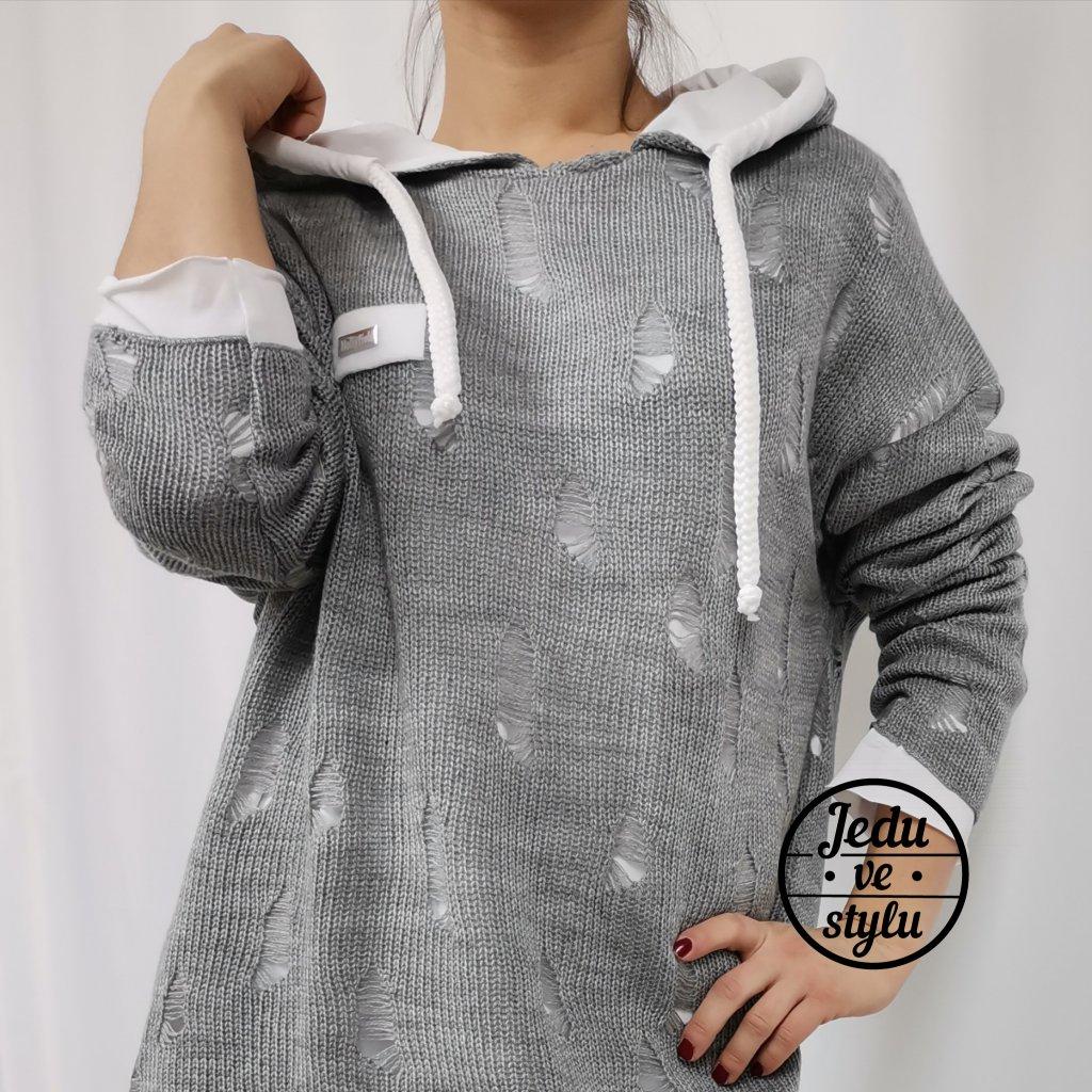 Dámský svetr pletený Andree šedý