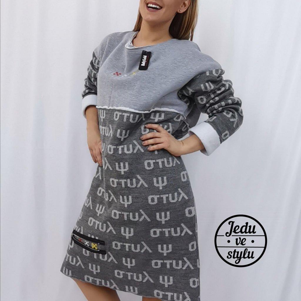 Mikinové šaty Julie šedé