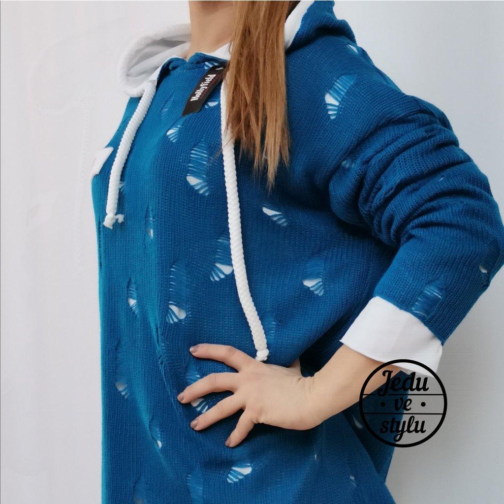 Dámský svetr pletený Andree modrý