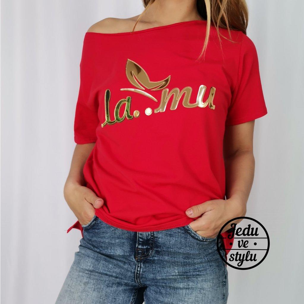 Dámské tričko Lamu se zlatým nápisem červené