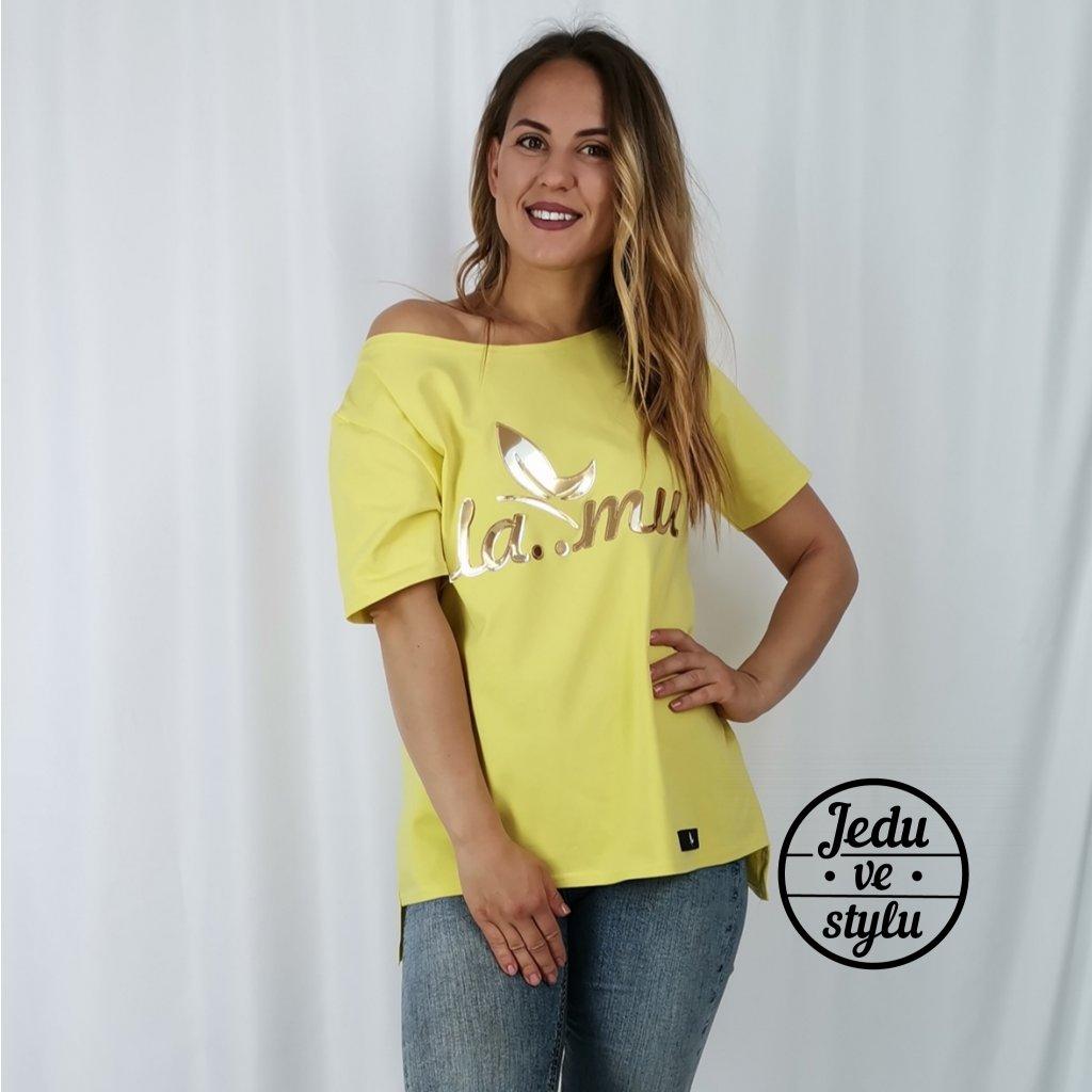 Dámské tričko Lamu se zlatým nápisem žluté
