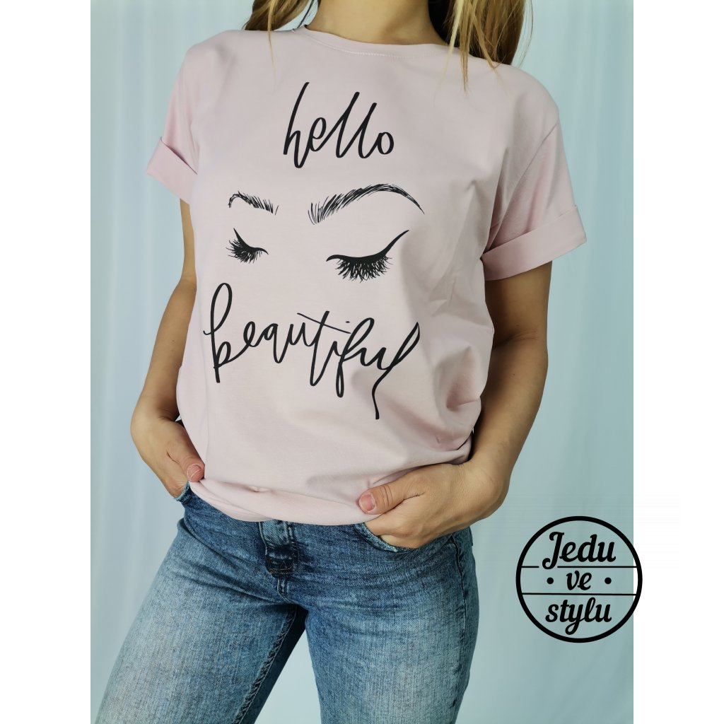 Dámské tričko s potiskem Josette starorůžové