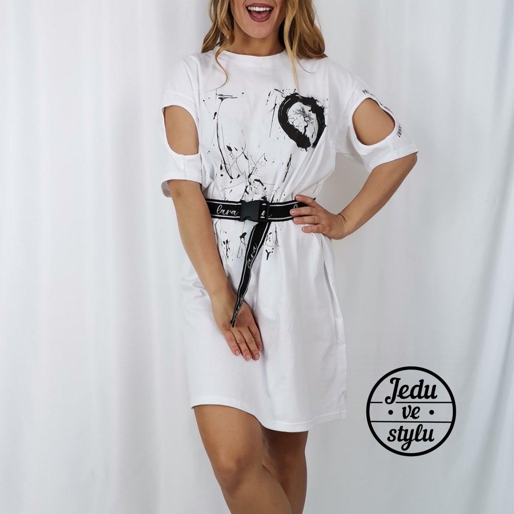 Dámské šaty Caroline polodlouhé s páskem bílé