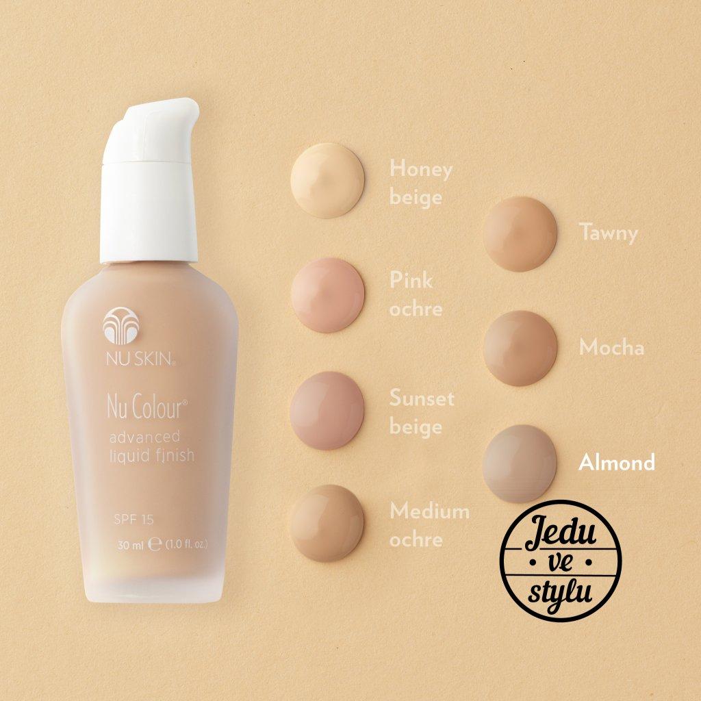 nu skin nu colour advanced liquid finish shades almond