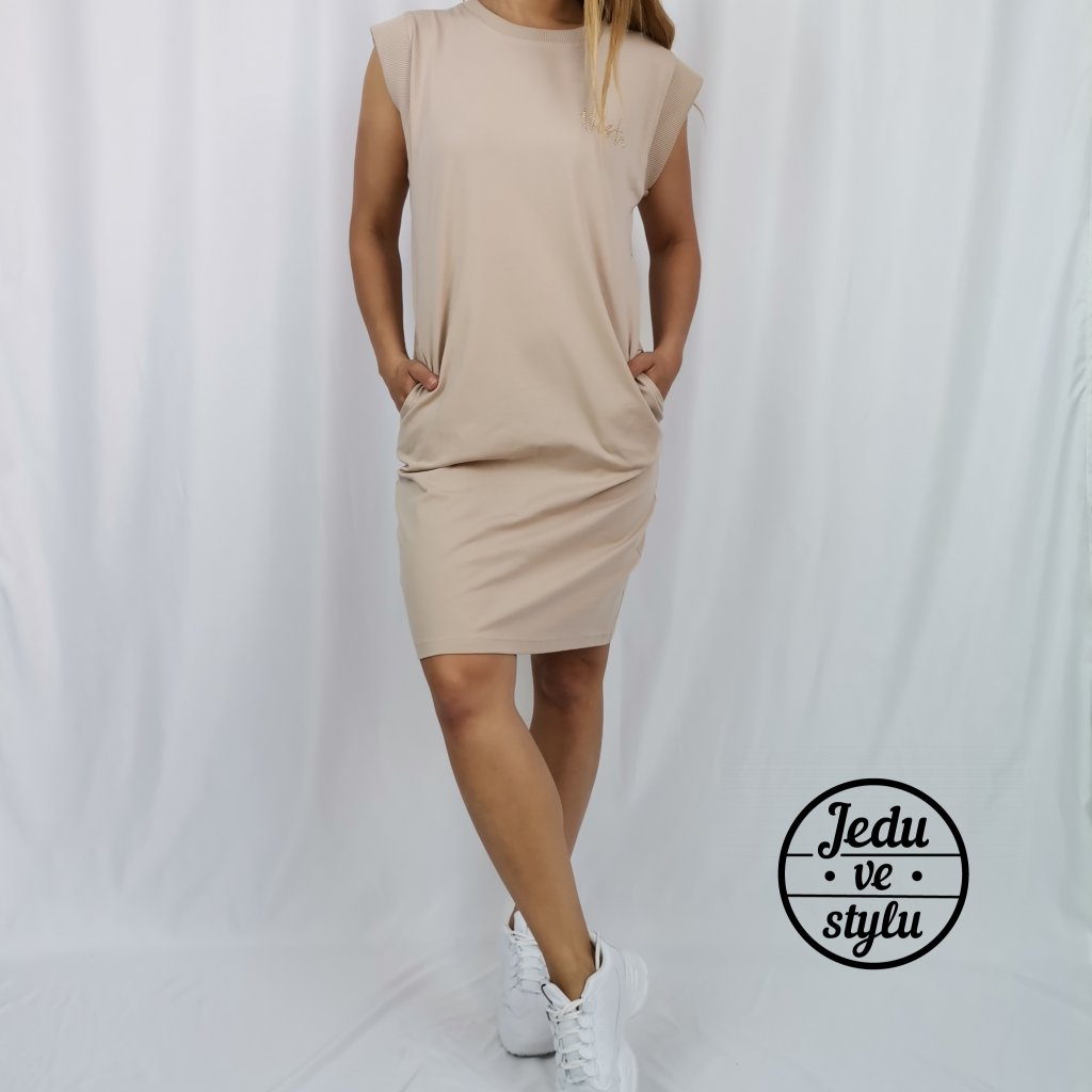 Dámské bavlněné šaty Celine béžové