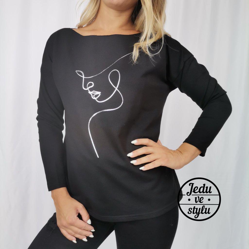 Dámské bavlněné tričko s polodlouhým rukávem Silueta černé