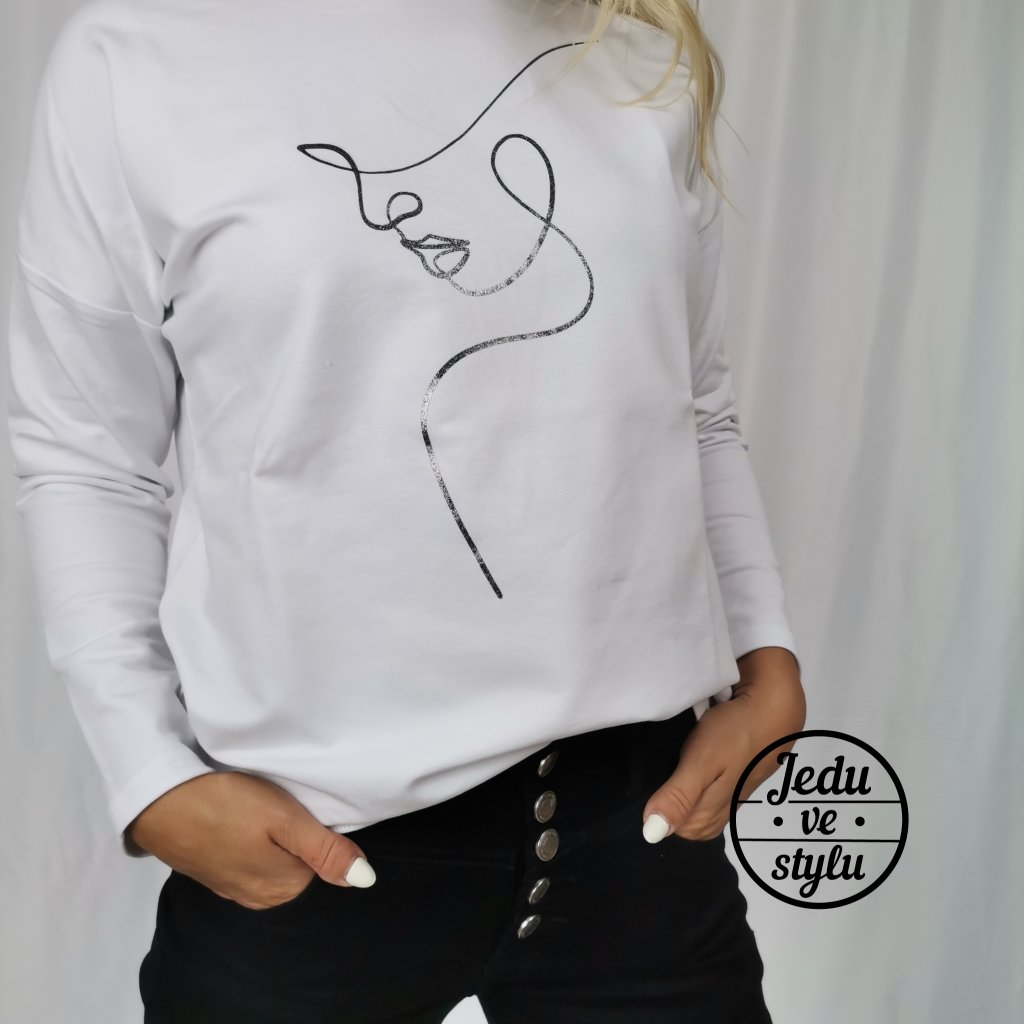 Dámské bavlněné tričko s polodlouhým rukávem Silueta bílé