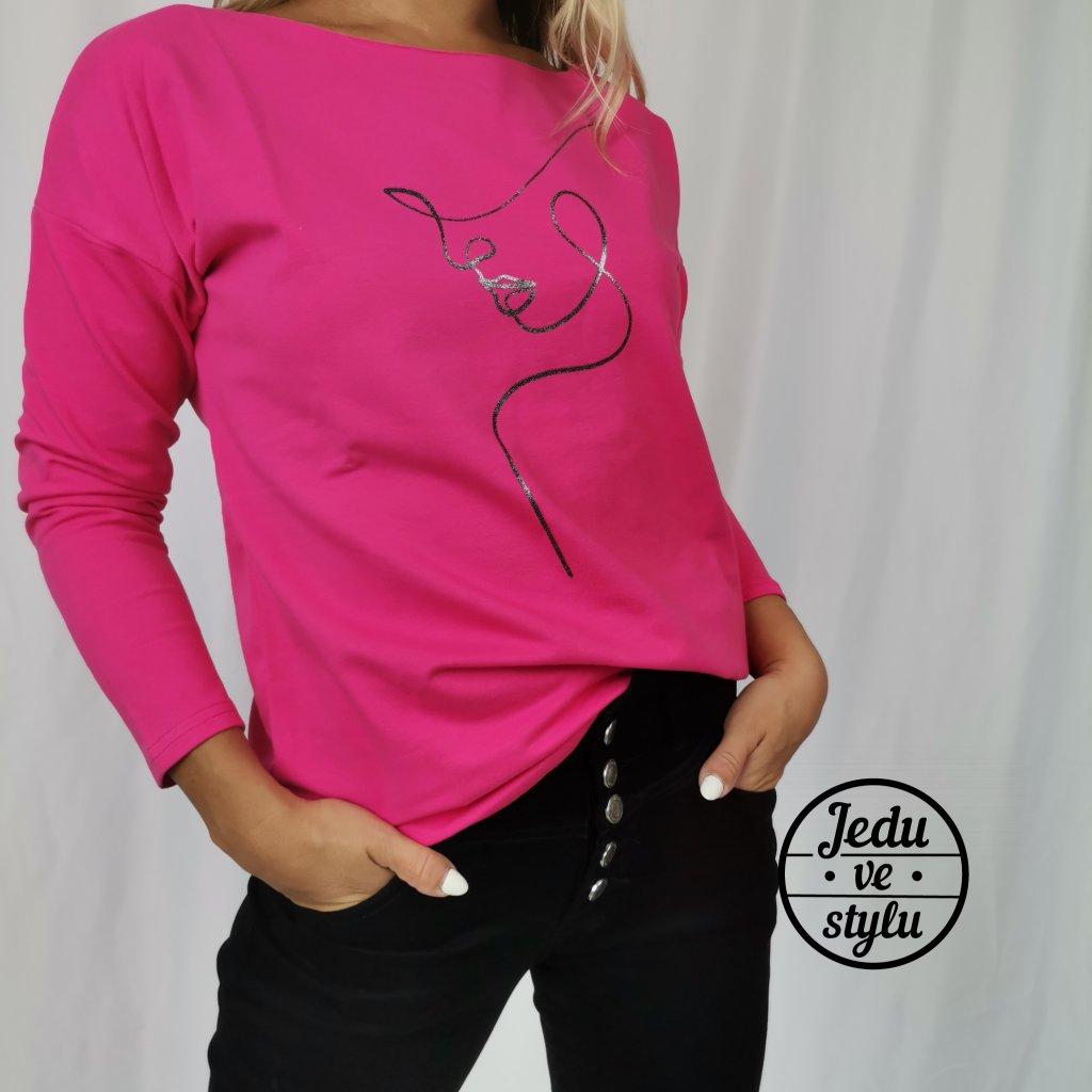 Dámské bavlněné tričko s polodlouhým rukávem Silueta růžové