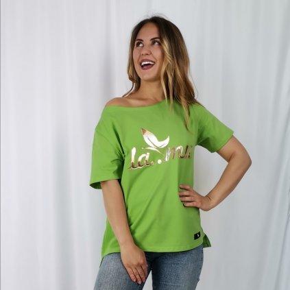 Dámské tričko Lamu se zlatým nápisem zelené