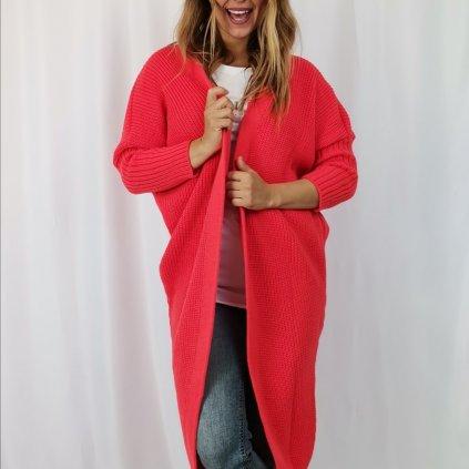 Dámský kardigan pletený dlouhý Claudine červený