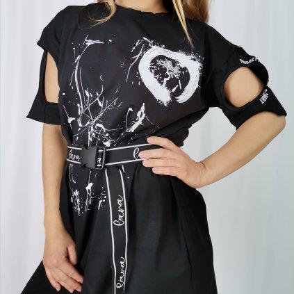 Dámské šaty Caroline polodlouhé s páskem černé