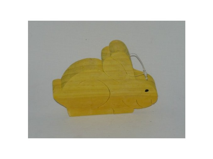 Dřevěná figurka zajíc žlutý