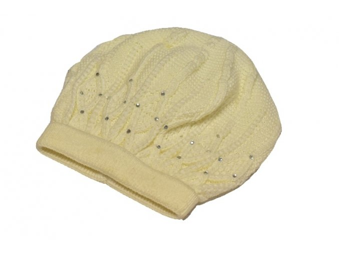 Pletená čepice krémová 2 ks