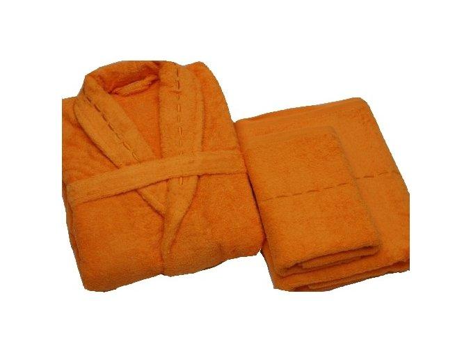 Župan, osuška a ručník vel. M oranžový 2 ks