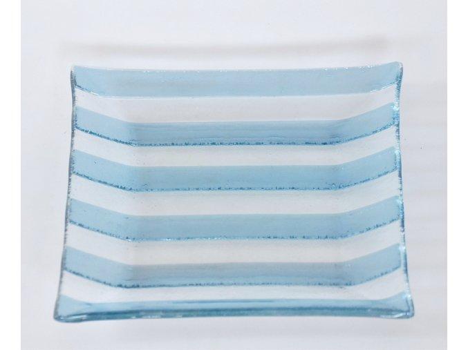 Skleněný svícen 25 x25 cm modrý pruh