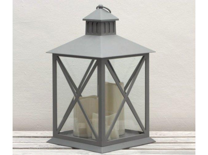 LED lucerna šedá - 3 svíčky