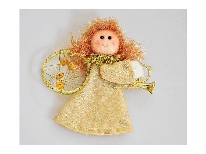 Látkový anděl zlatý 11 cm