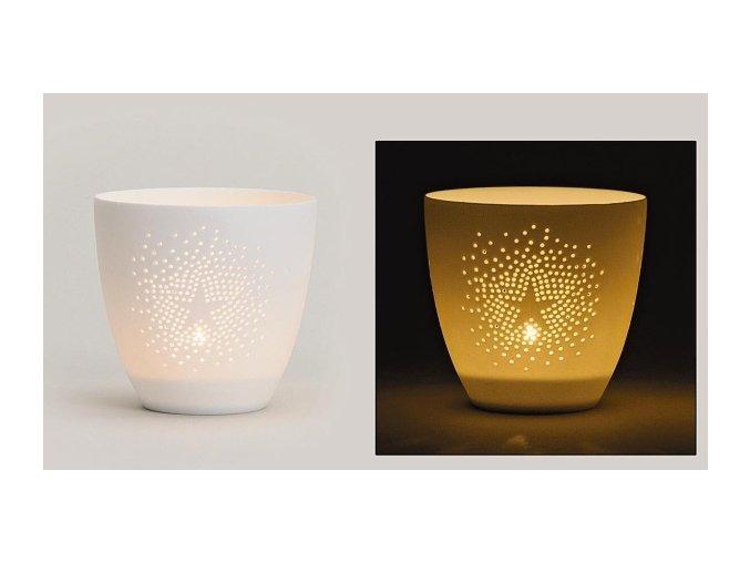 Vánoční porcelánový svícen s hvězdičkou