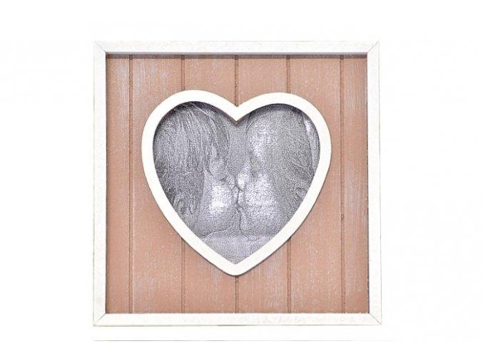 Dřevěný fotorámeček se srdíčkem, hnědý