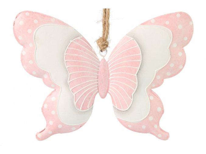 Kovový motýl starorůžový L