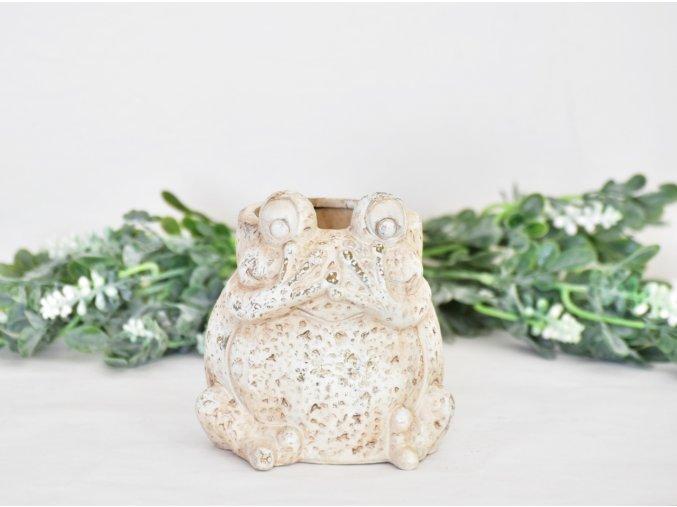Květináč žába 17 cm krémový