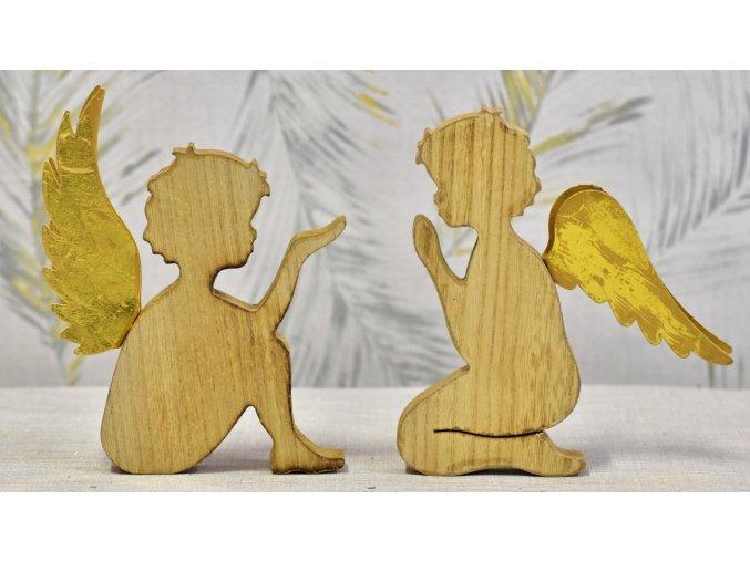 Dřevěný anděl s kovovými křídly 21 cm