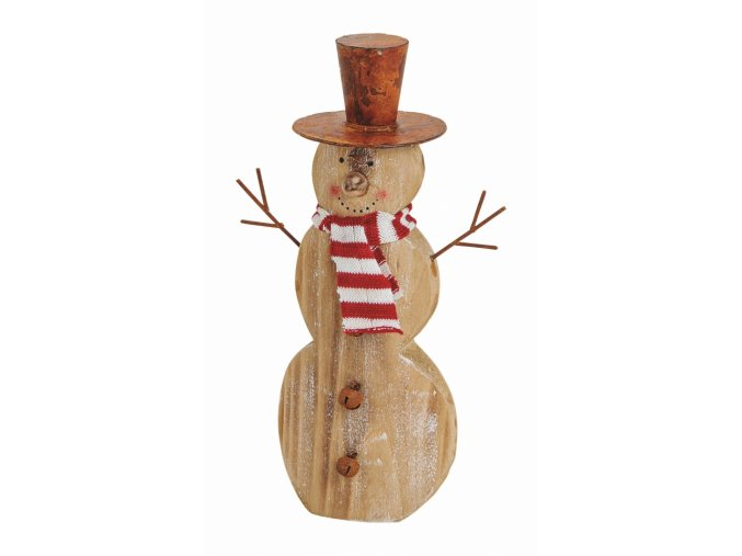 Dřevěný sněhulák 23 cm
