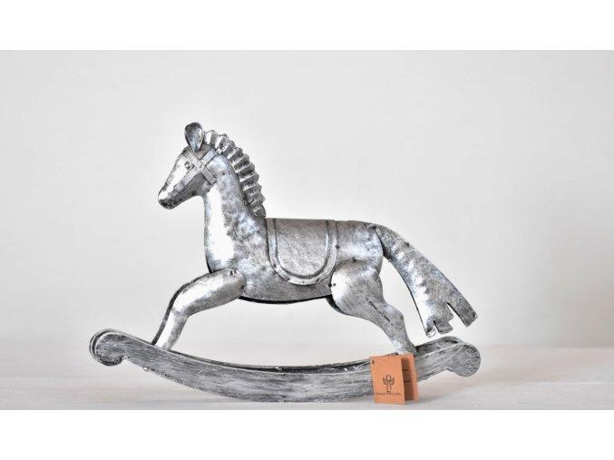 Kovový houpací kůň stříbrný 20,5x31 cm