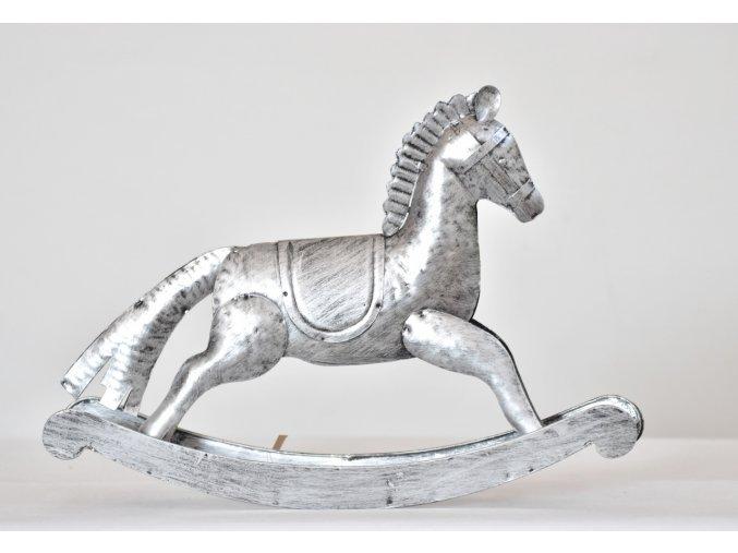 Kovový houpací kůň stříbrný 26,5x38 cm