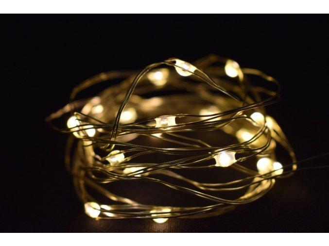 Světelný řetěz s časovačem 100 cm, 20LED teplé bílé světlo