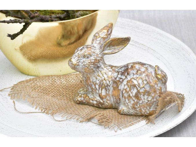 Dekorativní zajíc Mahtiel zlatý 12 cm