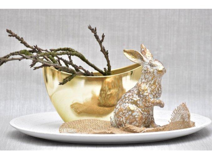 Dekorativní zajíc Mahtion zlatý 19 cm