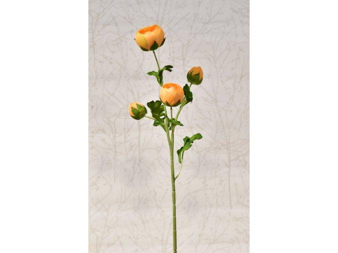 Umělá kamélie oranžová, 68 cm
