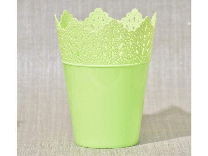 Plastový květináč krajka, zelený 14,5x19 cm
